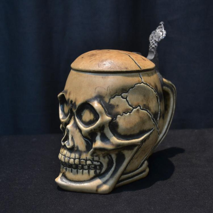GERMAN SKULL STEIN ; MARKED 2634