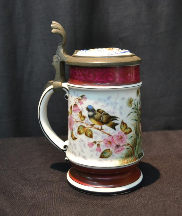 GERMAN HAND PAINTED STEIN WITH DANCING CHERUBS