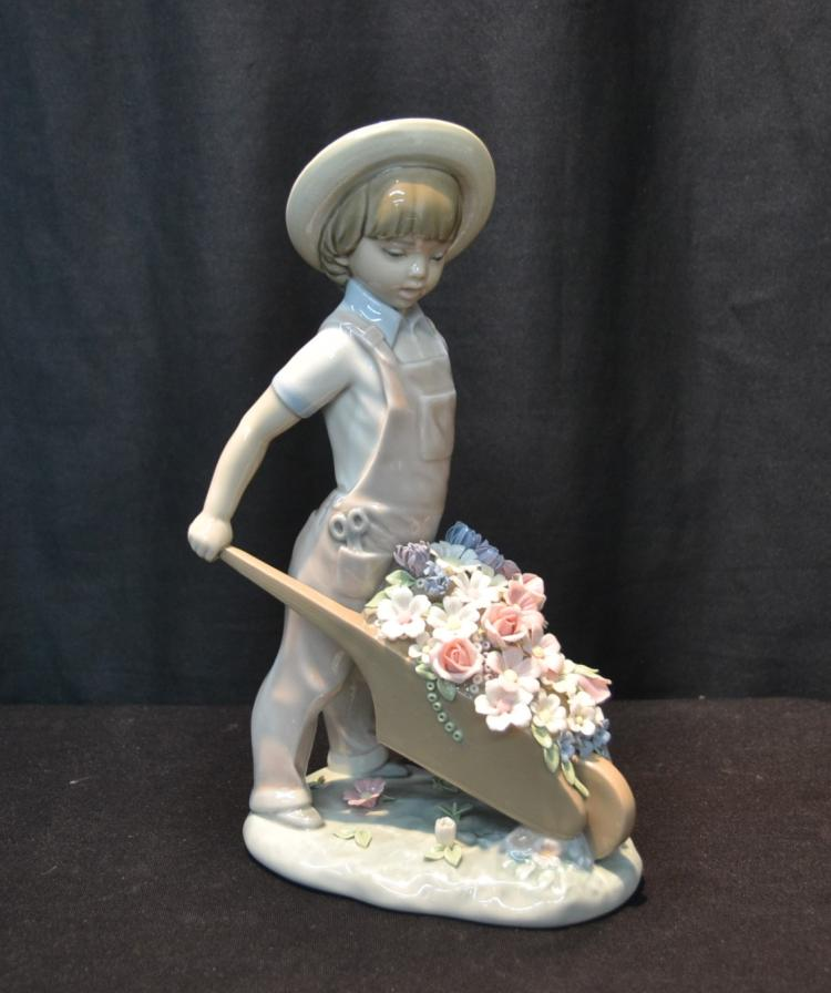 LLADRO BOY WITH WHEEL BARREL OF FLOWERS
