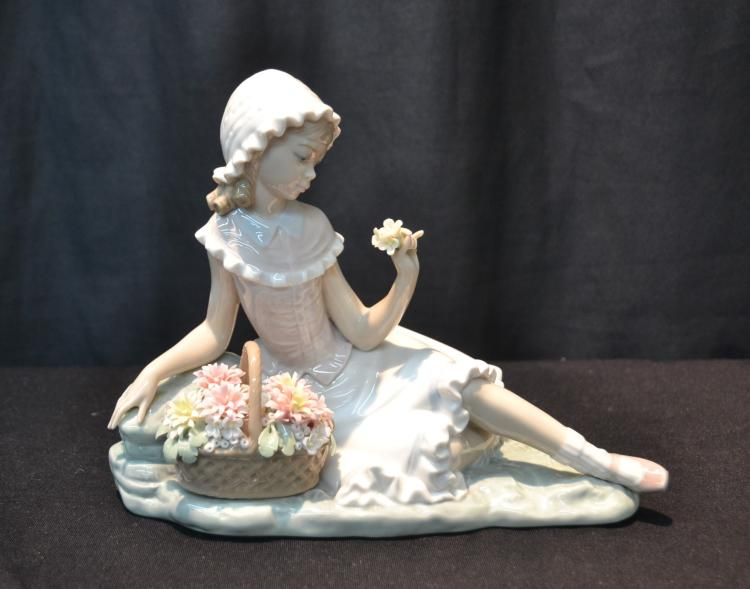 LLADRO RECLINING GIRL WITH FLOWER BASKET
