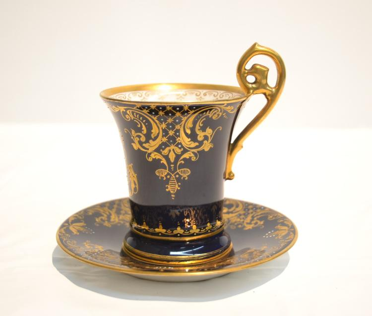 DRESDEN COBALT CUP & SAUCER WITH GOLD TRIM