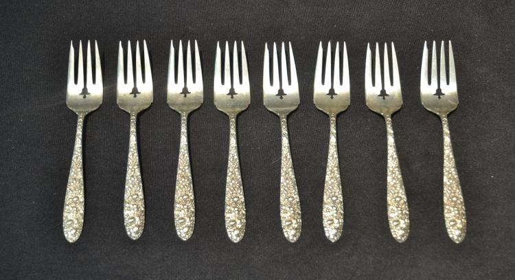 (8) STERLING SILVER FLORAL REPOUSSE FORKS