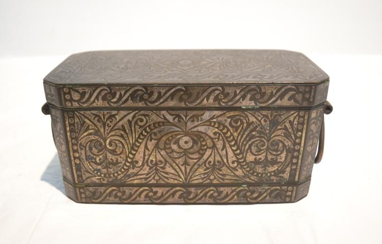 INLAID METAL INDIAN SPICE / NUT BOX WITH