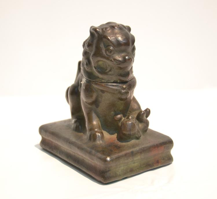 BRONZE FOO DOG INKWELL - 3