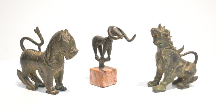 (3) BRONZE CHINESE ? ANIMALS INCLUDING HORSE