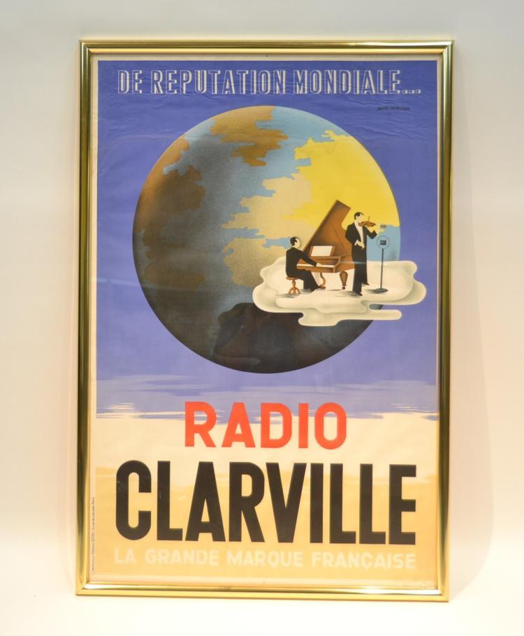 FRAMED VINTAGE RADIO CLARVILLE POSTER