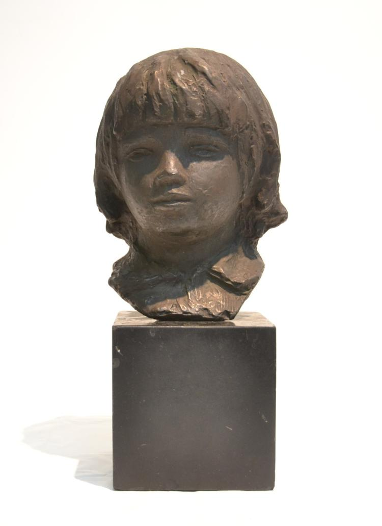 COMPOSITION BUST OF YOUNG GIRL ON MARBLE BASE