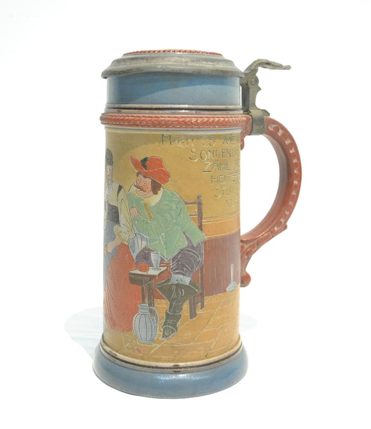GERMAN STEIN WITH FIGURES ; PROSIT ; 1338