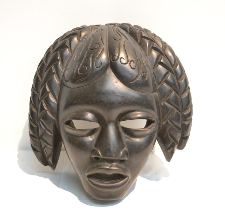 AFRICAN WOOD CEREMONIAL MASK ; SIGNED C.SIMEON