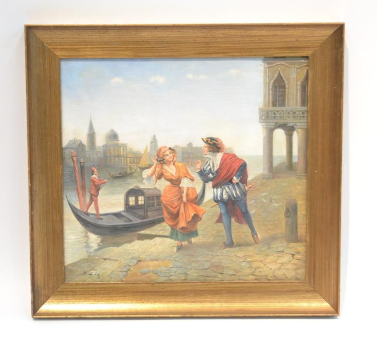 19thC OIL ON TIN COUPLE IN GANDOLA VENICE CANAL