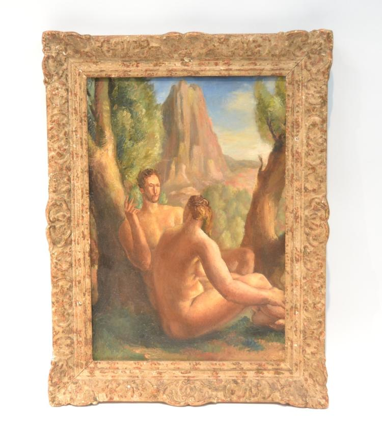 OIL ON CANVAS NUDE ADAM & EVE IN LANDSCAPE