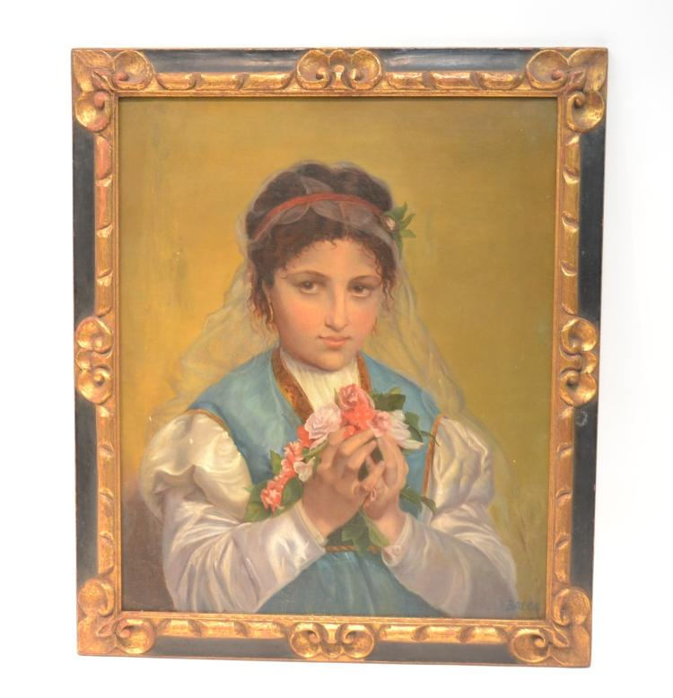 OIL ON CANVAS PORTRAIT OF YOUNG GIRL WITH FLOWERS