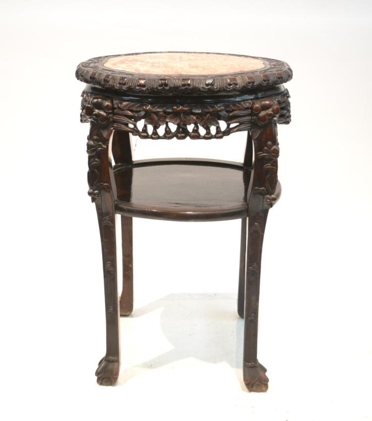 LARGE CHINESE MARBLE TOP ROSEWOOD TABLE
