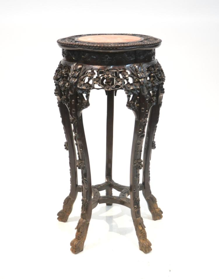 CHINESE MARBLE TOP CARVED ROSEWOOD STAND