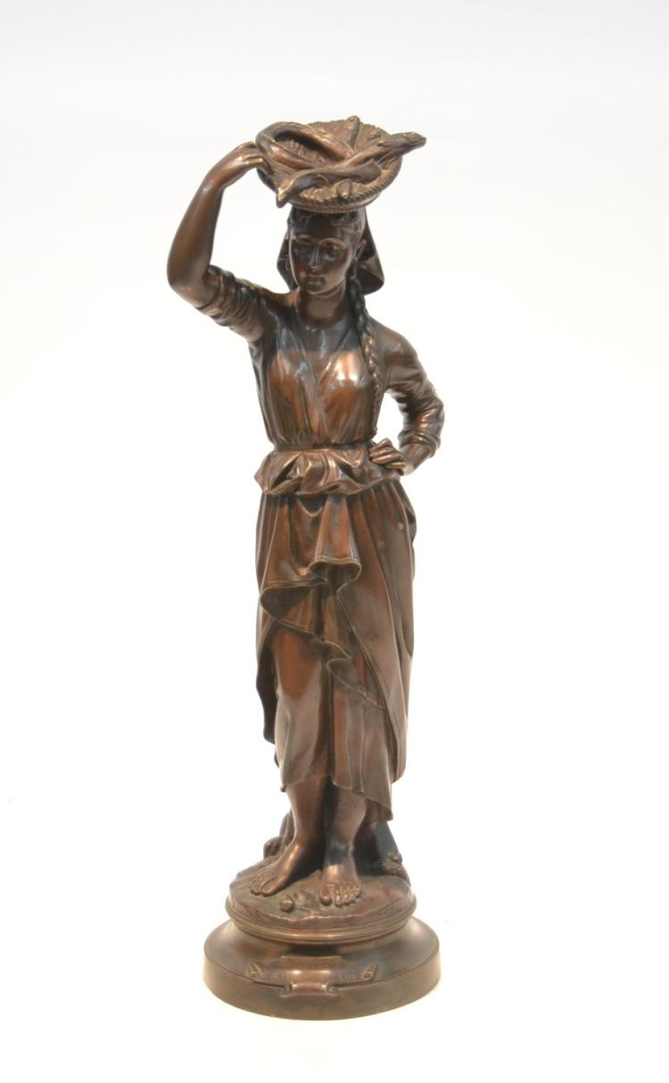 BRONZE GIRL WITH FISH BASKET