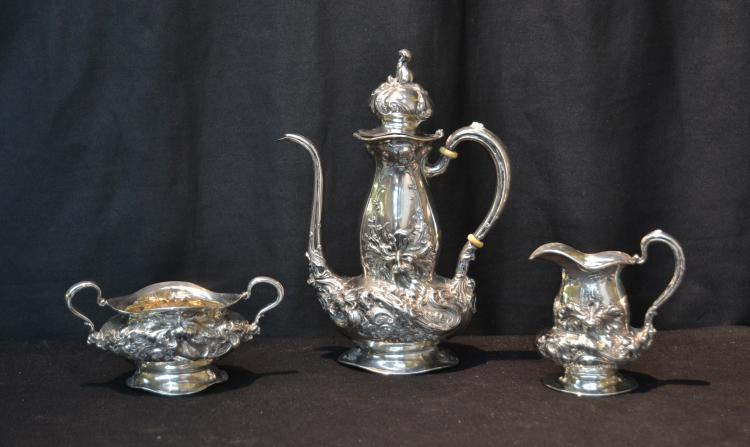 A. FRANKFIELD & Co. SILVER FLORAL REPOUSSE
