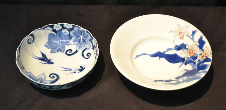 (2) JAPANESE BLUE & WHITE PORCELAIN BOWLS