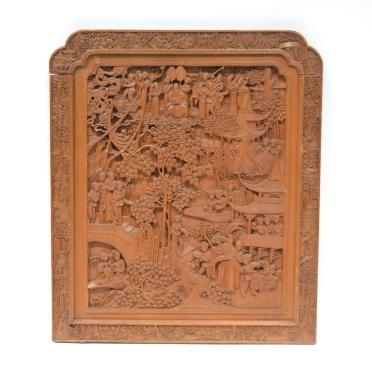CARVED CHINESE PANEL WITH FIGURES BY TREES - 23