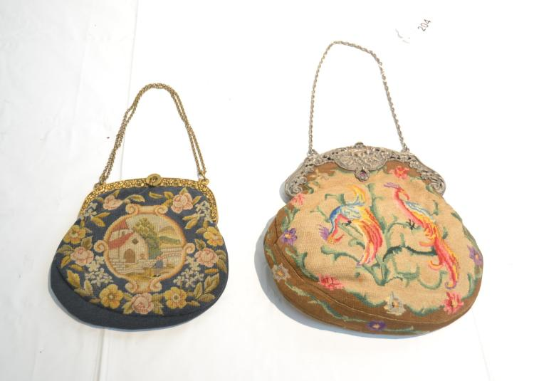 (2) PETTIPOINT BAGS ADORNED WITH EXOTIC BIRDS &
