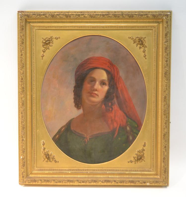 OIL ON CANVAS PORTRAIT OF GIRL WITH RED HEADRESS