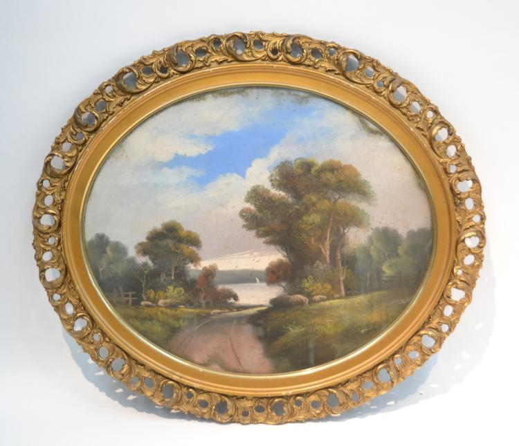 OVAL PASTEL LANDSCAPE IN GILT FRAME