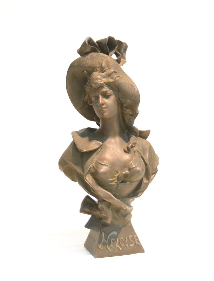 ART NOUVEAU PATINATED METAL BUST OF HELOISE