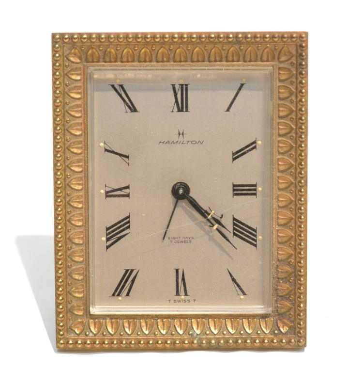 HAMILTON BRONZE EASEL TRAVEL CLOCK