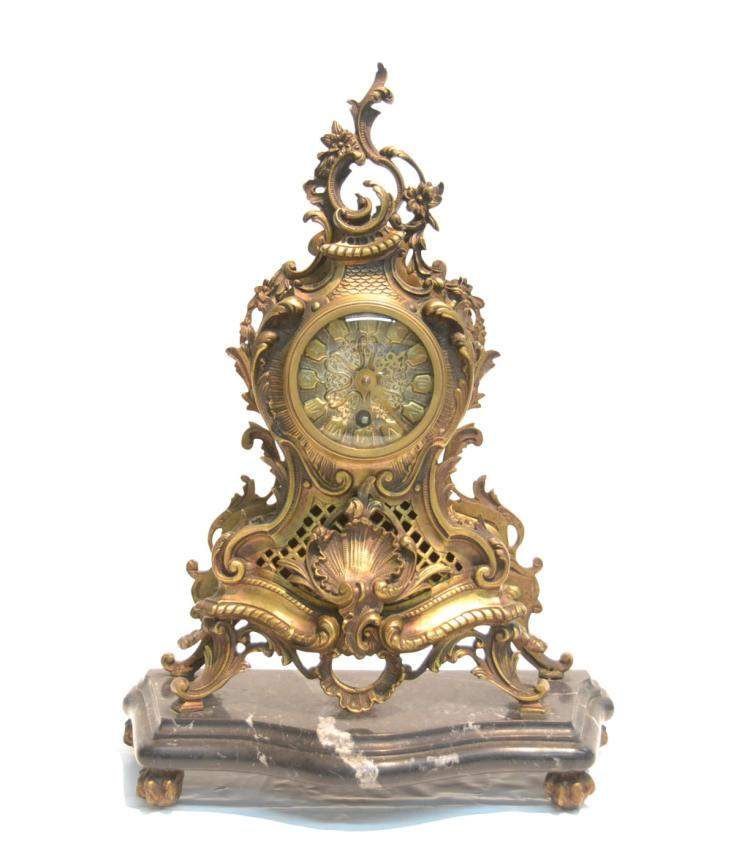 BRONZE LXV STYLE CLOCK ON MARBLE BASE