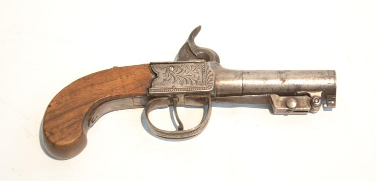 19thC BOOT PISTOL WITH DAGGER - 7 1/2