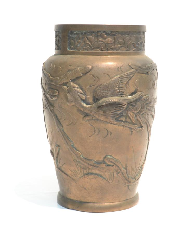 ORIENTAL BRONZE VASE WITH PHEONIX BIRD