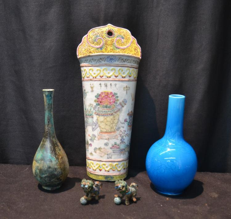 (2) ORIENTAL VASES , MINI FOO DOGS & WALL POCKET