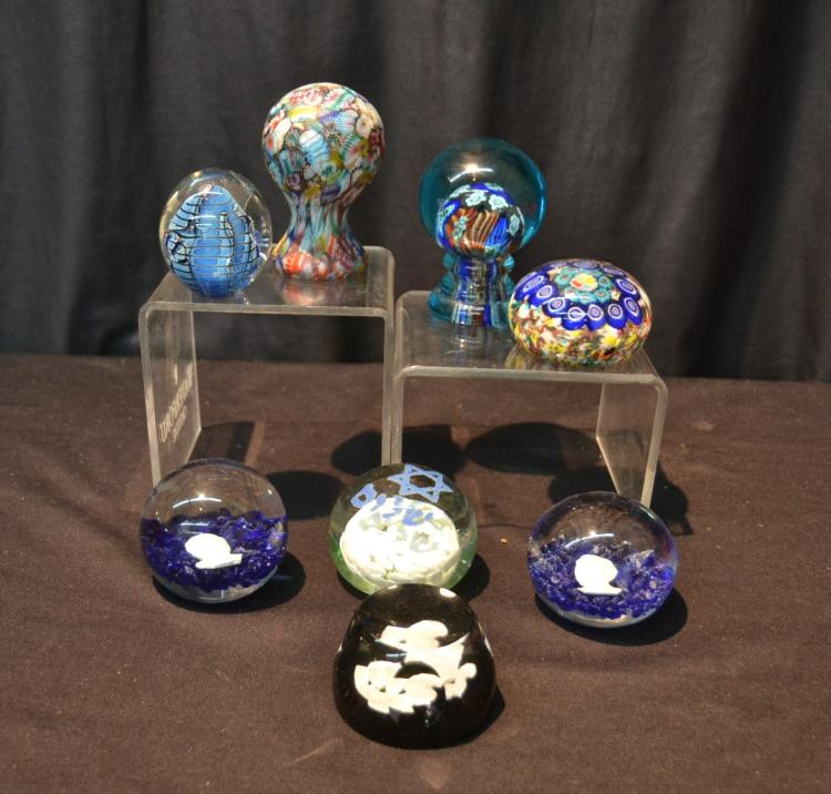 (8) ART GLASS PAPERWEIGHTS INCLUDING