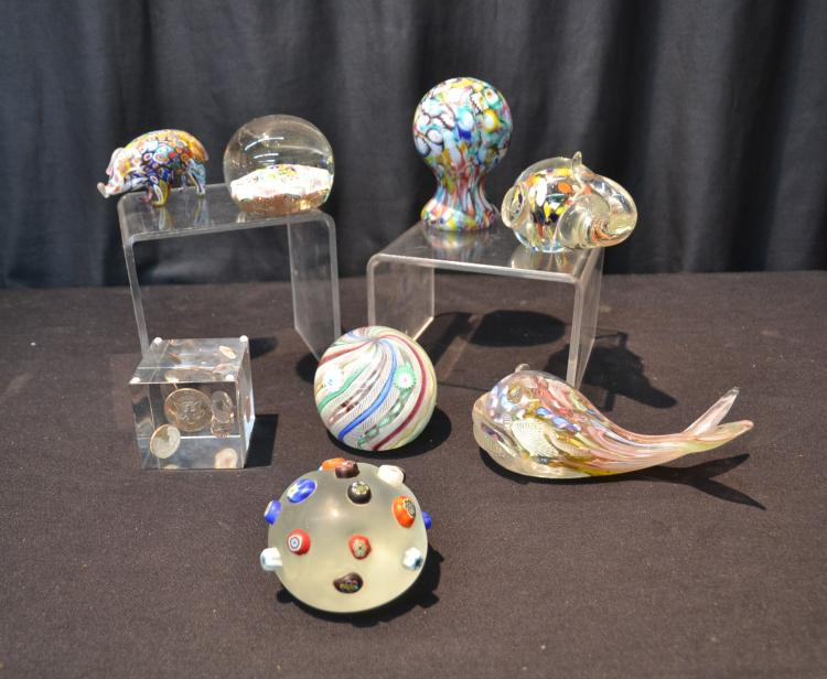 (8) ASSORTED ART GLASS PAPERWEIGHTS INCLUDING