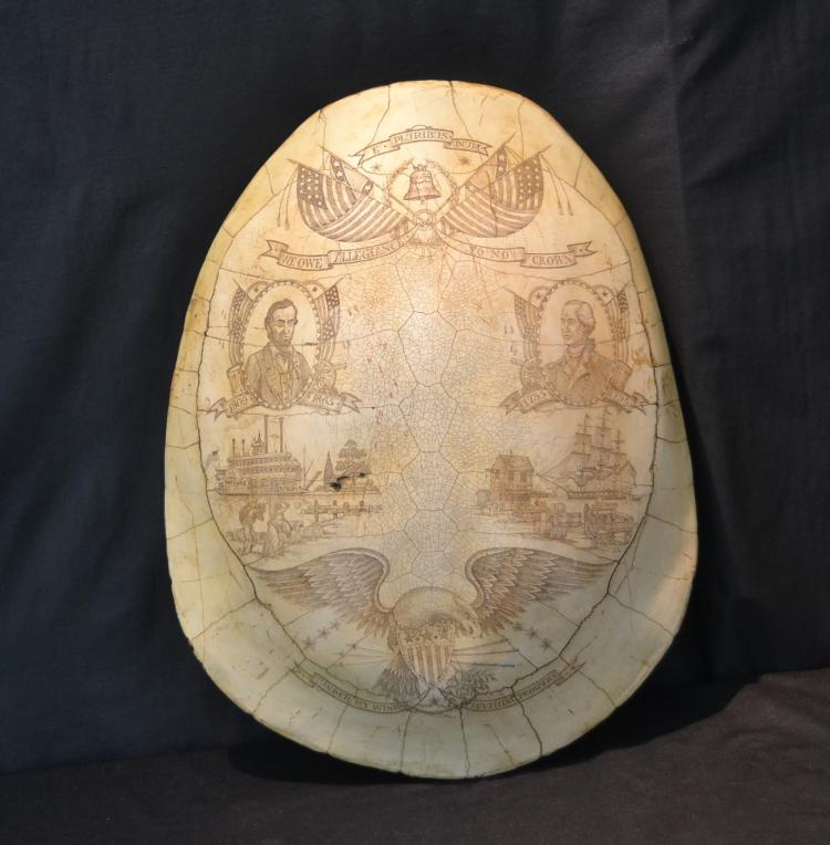 FAUX TURTLE SHELL SCRIMSHAW STYLE EARLY AMERICA
