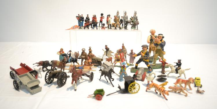 ASSORTED LEAD & COMPOSITION SOLDIERS - 5 1/2