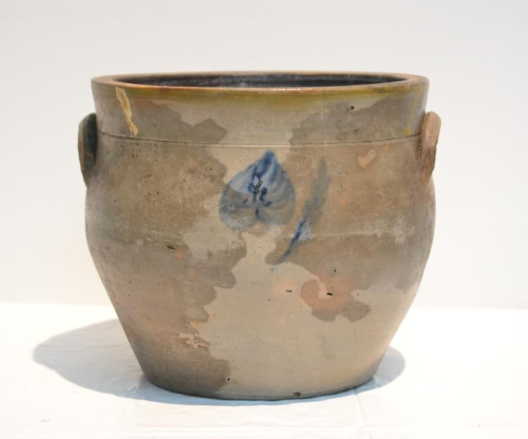 ANTIQUE STONE WARE CROCK WITH BLUE DECORATIONS