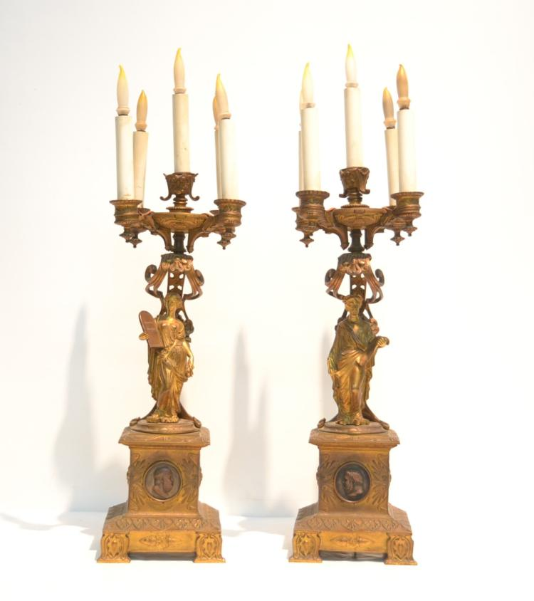 (Pr) EMPIRE CANDELABRAS OF FIGURES HOLDING