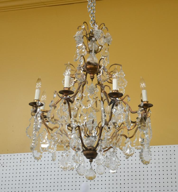 FRENCH STYLE BRONZE & CRYSTAL CHANDELIER