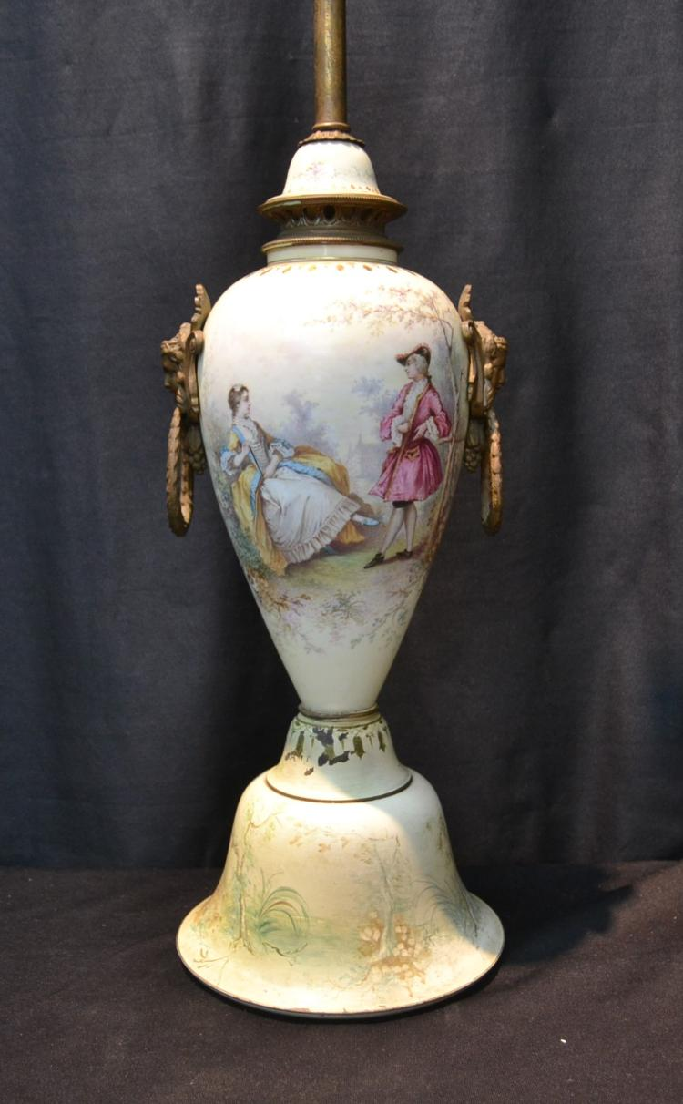 HAND PAINTED SEVRES STYLE LAMP WITH