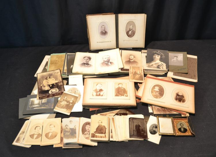 ASSORTED ANTIQUE CABINET CARDS & DAGUERREOTYPES
