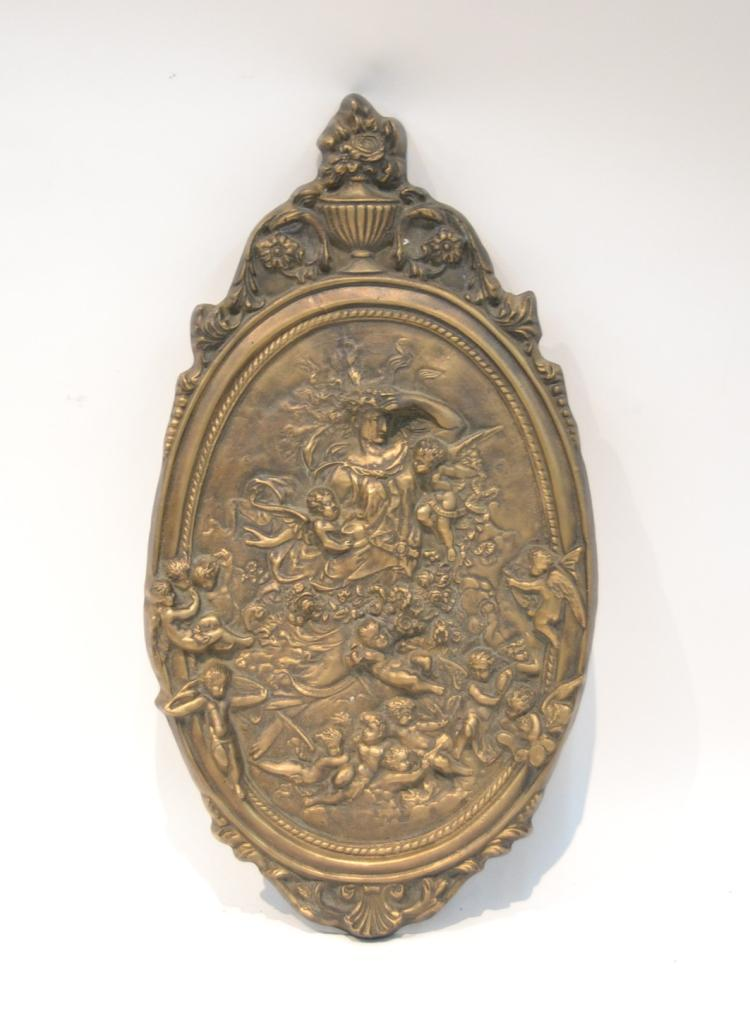 LARGE BRONZE PLAQUE WITH RAISED RELEIF WOMAN &