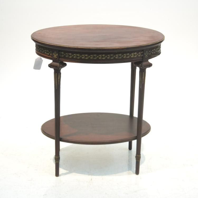 2-TIER SIDE TABLE WITH BRONZE MOUNTS