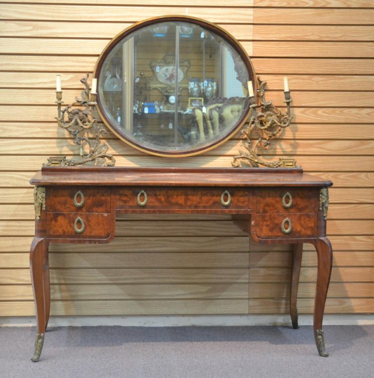 BURLED VANITY WITH BRONZE MOUNTS & CANDLE STICKS