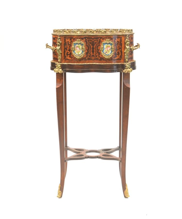 FRENCH INLAID PLANTER WITH FLORAL PORCELAIN