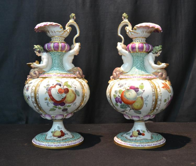 (Pr) MEISSEN PORCELAIN EWERS WITH FRUIT &