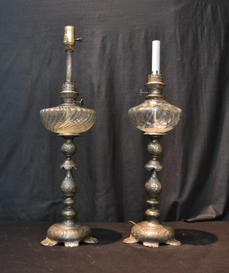 (Pr) RUSSIAN SILVER CANDLESTICK OIL LAMPS
