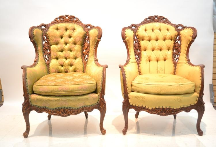 (Pr) PIECED CARVED WING CHAIRS WITH CHERUB