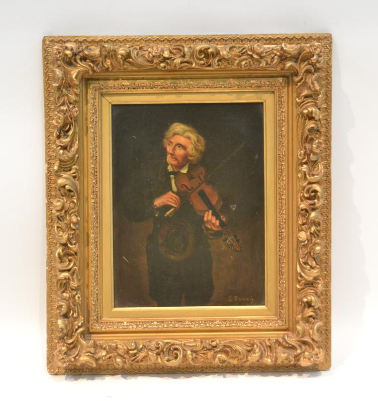 OIL ON CANVAS PORTRAIT OF MAN PLAYING MANDOLIN