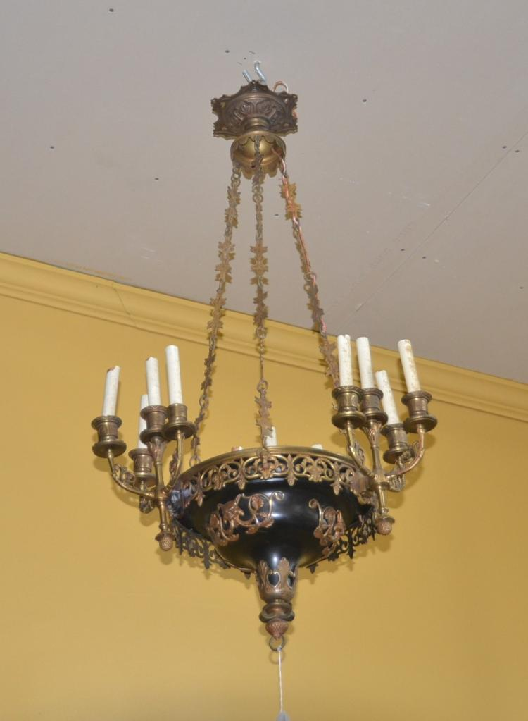 12-LIGHT BRONZE EMPIRE STYLE CHANDELIER