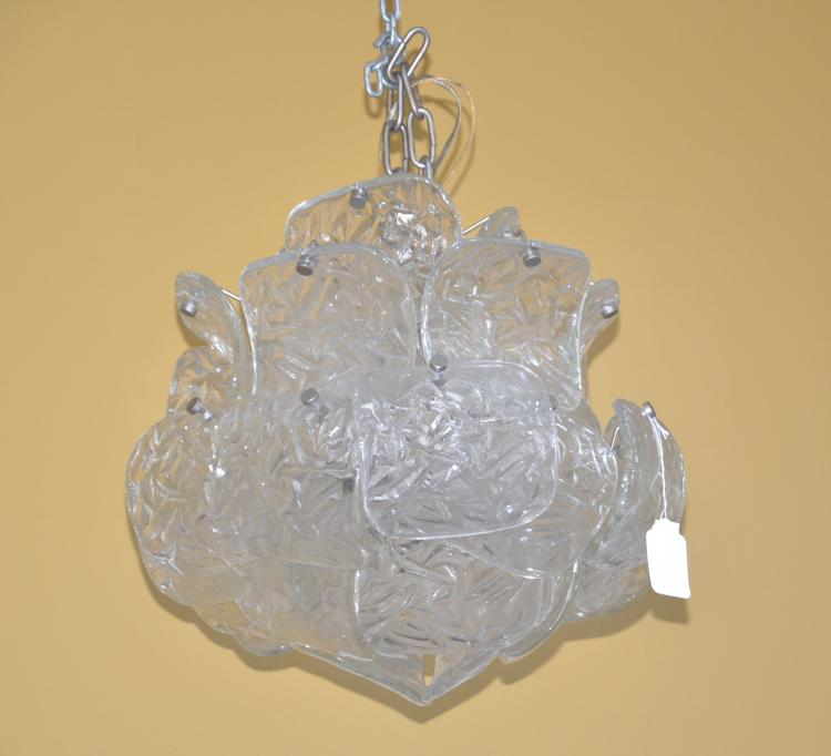MODERN CHROME & FROSTED GLASS PANEL CHANDELIER